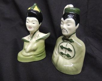 Vintage Mid Century Modern Asian Couple / Figurines Green Chinese Emperor / Geisha Retro