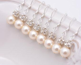 6 Pairs Ivory Pearl Bridesmaid Earrings, Cream Pearl and Rhinestone, Sterling Silver Earrings 0111