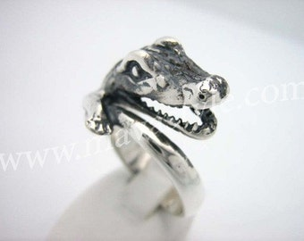 Sterling Silver Crocodile Ring Alligator Croc Gator