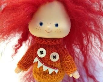 pdf knitting pattern - Mini monster sweater for vintage Strawberry Shortcake doll.