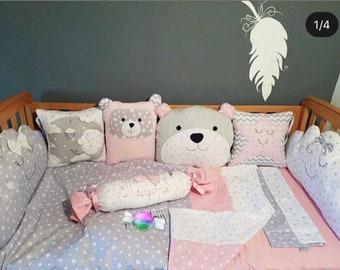 Baby bumper, Baby bedding, Baby boy bumper, Baby girl bumper, Custom made bumper, Custom made bedding