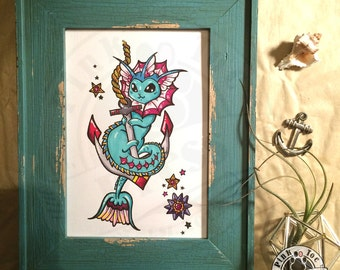 Retro Mermaid and Anchor // Tattoo Art Print // featuring Vaporeon