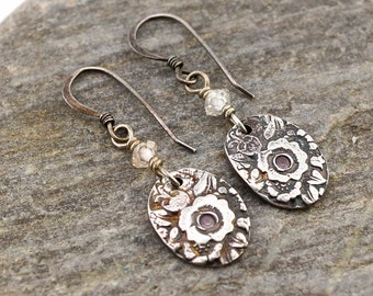 Silverware impression earrings, floral dangle, lab created alexandrite, Irina Miech metal clay