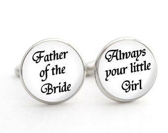 Father of the Bride Gift, Father of the Bride Cufflinks, Thank You Gift for Dad from Bride, Silver Cufflinks, Wedding Day Gifts for Dad