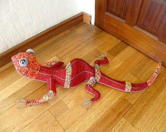 African Beaded Wire LIZARD LARGE - Red & Multicolor