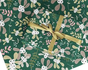 Christmas wrapping paper, gift wrap, Christmas mistletoe gift wrap, Christmas wrapping paper sheet