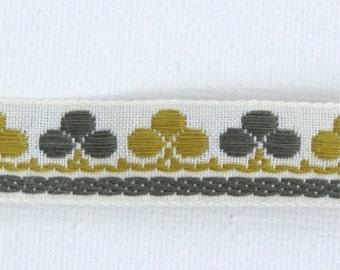 "Clubs & Clover Jacquard Ribbon, Vintage Sewing Trim, Tyrolean Trim, Clover Ribbon, Irish Trim, Geometric Ribbon, Sewing, 5/8"" wide, 3 yards"