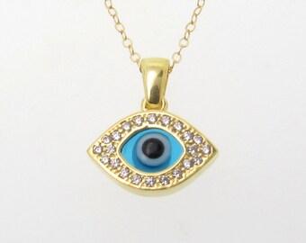 Collier de mauvais oeil, argent ou Vermeil or jaune avec de CZ - comme on le voit sur Ashley Tisdale