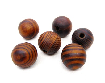 Brown Round Wooden Beads, Brown Wooden Beads with Stripes, Brown Wood Beads, Large Wooden Beads 20x18mm/ Ø 4.5mm - 5 pcs