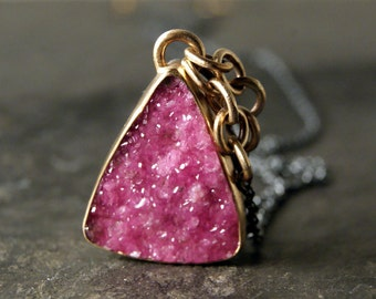 Pink Cobaltocalcite Druzy Necklace in 14kt Recycled Yellow Gold and Oxidized Sterling Silver...ooak, mixed metals
