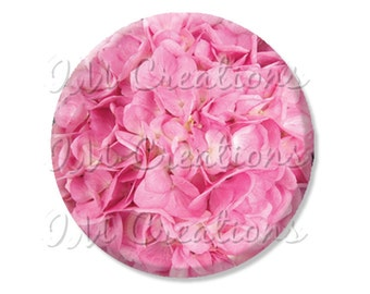 """LIQUIDATION SALE! Pretty Pink Flowers Pocket Mirror, Magnet, or Pin 2.25"""""""