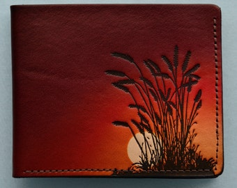 Leather Wallet / red sky / wheat