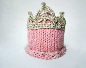 Princess baby hat Photo prop Pink Girl baby hat Newborn Princess hat photography prop Knit baby hat from diadem Pink baby hat Gift for girl