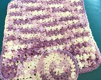 Washcloth and Face Scrubbie Set, hand crocheted,  purple stripes