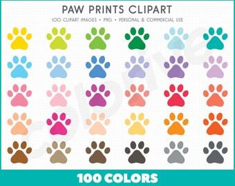 Paw Print clipart 100 rainbow colors fun paw prints pet puppy cute pets animal print png illustration planner stickers clip art set