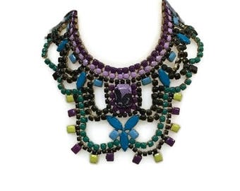 PEONIE hand painted rhinestone super statement necklace