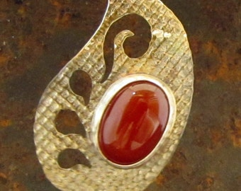 Belly Dance Henna Motif Pendant, Sterling Silver with Red Carnelian, Water Spray Design