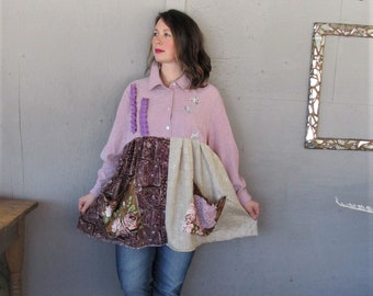 upcycled tunic dress Bohemian Gypsy recycled clothing pink shirt fun clothes 2 X 3 X Boho sustainable clothing reclaimed LillieNoraDryGoods