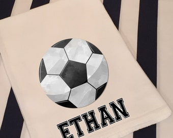 Personalized Sports Soccer White Flour Sack Hand Towel Boys Girls Bathroom Hand Towel Birthday Party Favor Sports Gift