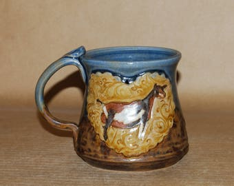 Handmade Stoneware 16 oz Mug with Nigerian Doe