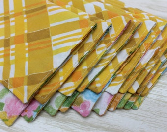 Napkins Small Cloth Lunchbox set of 10 Vintage Fabric Yellow Floral Plaid