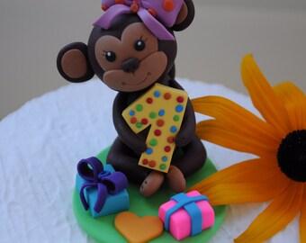 Birthday cake topper 1st birthday, Monkey cake topper, Personalized cake topper, Birthday cake topper girl, Monkey figurine, Animal topper