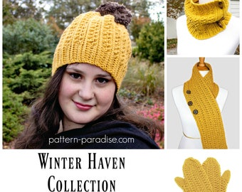 Crochet Pattern for Winter Haven Collection, Hat, Scarf, Mittens, Cowl for Toddler, Child, Adult