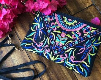 Embroidered clutch bag, Bohemian clutch, boho bag, floral bag, floral clutch