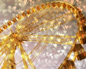Ferris wheel in Paris photograph - dreamy, gold heart bokeh romantic valentine wall fine abstract modern art, office or home decor
