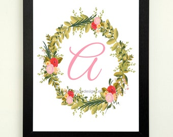 Letter A Printable, 8x10 Instant Download, Baby Girl Nursery Art, Nursery Decor, Floral Monogram, Letter Art, Baby Gift, Baby Shower Gift