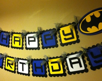 Batman Inspired Happy Birthday Banner