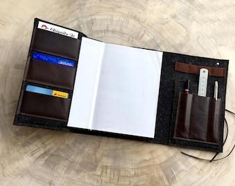Feutre de laine pour ordinateur portable de calendrier organisateur et cuir, noir/brun