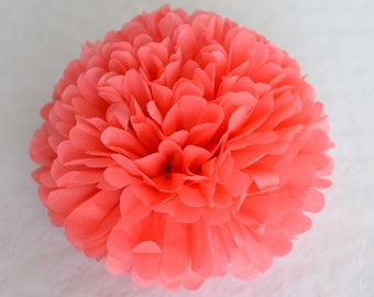 Paper pom pom in Coral rose -  wedding decorations / party decor/ nursery decor/ bridal baby shower/ tissue paper pompoms / party poms