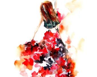 Flamenco Dancer Fine Art Print, dance watercolor painting art, dance art, red abstract realism dancer figure print, modern dance art print