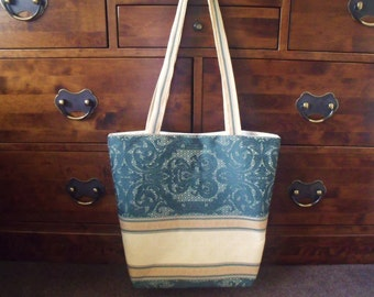 Large Shopping Bag/Tote/Farmers Market Bag, Hard Wearing Green & Gold Curtain Material with Matching Purse