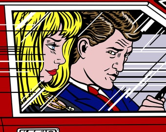 Couple Portrait & Car Background / POP ART style / Roy Lichtenstein Style / For Digital Use and Personal Print / Personalized Portrait