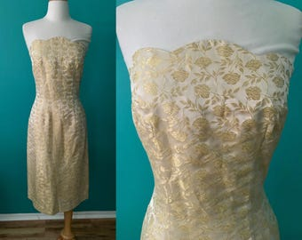 Vintage 50s Gold Brocade Strapless Wiggle Dress Scalloped Neckline Party Holiday