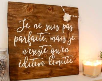 "Panel wood ""I'm not perfect"", decorative wood panel painting handmade"