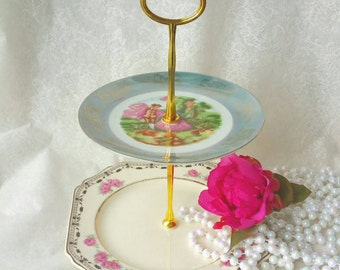 Small Mismatched 2 Tiered Cake Stand/Plate, or Jewelry Stand /Dessert Stand 2 levels