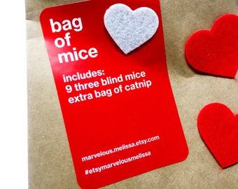 Cat Valentine Gift, Pet Lover Valentine, Bag of Mice, Set of 9 Wool Mini Catnip Mice, New Kitten Gift Deal, Organic Catnip, Small Catnip Toy