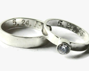 His and her wedding band set personalized sterling silver ring promise ring alternative engagement ring matching rings couples ring set