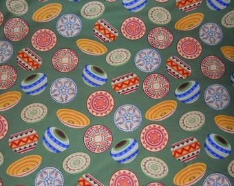 Decorative Fabric, Southwestern Fabric, Pottery/Baskets Quilt Fabric,Green/Red/Yellow/Orange/Blue HomeDecor (1) Yard 36'' Length, 45'' Width
