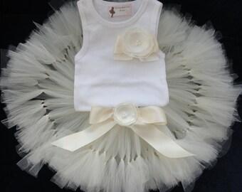 Ivory Tutu   Ivory Flower Girl Dress