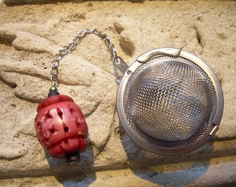 Tea Ball Infuser One of A Kind with Chinese Lantern Bead Charm  Stainless Steel Ball & Chain Hand Made Durable Functional Fun Great Gift