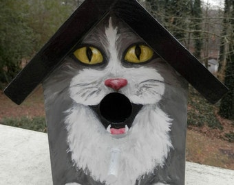 Bird House Hand Painted Custom Gray Tuxedo Cat Design Wood Outdoor