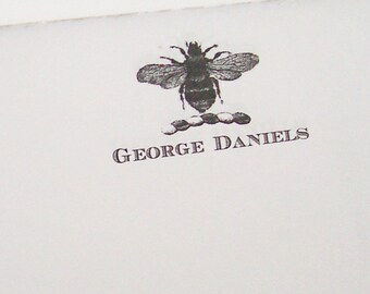 Personalized Notepad Bee Vintage Inspired Napoleonic Honey Bee Monogrammed Wedding Gift 75 Sheet Note Pad Heraldry