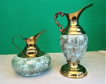 Dutch Pitchers Brass and Porcelain 1950s