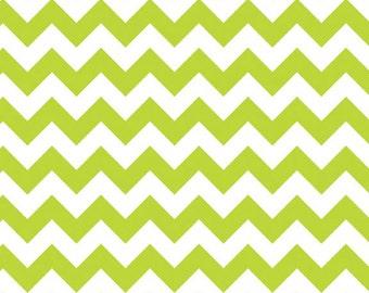 Lime Green Small Chevron Fabric by Riley Blake Designs - Half Yard - 1/2 Yard - Zig Zags