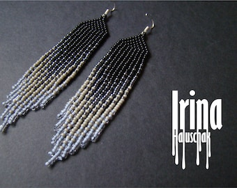 Gradient beaded earrings Seed bead earrings Gradient from black to light transparent gray Boho style earrings Fringe earrings Dangle