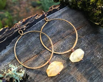 Earrings - Copper Citrine Hoops